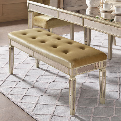 Natalie Grey Velvet Mirrored Bench