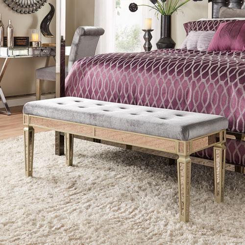 Natalie Silver Velvet Mirrored Bench