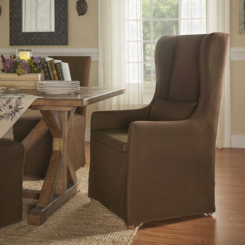 Lisle Brown Slipcover Wingback Host Chair