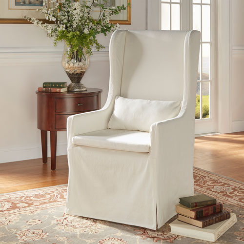HomeHills Lisle White Slipcover Wingback Host Chair