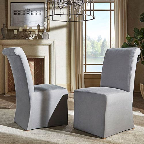 HomeHills Cunningham Rolled Back Slipcovered Side Chair, Set of 2
