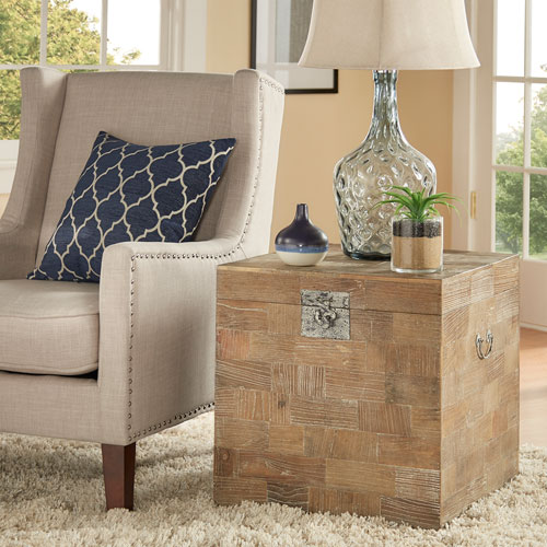Loewll Reclaimed Wood Trunk Side Table