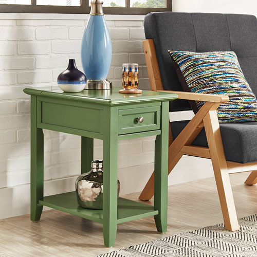 Bernay II Green Charging Accent Table