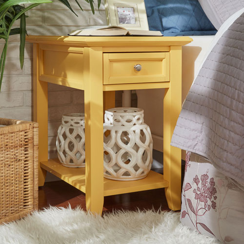 Bernay Yellow Charging Accent Table
