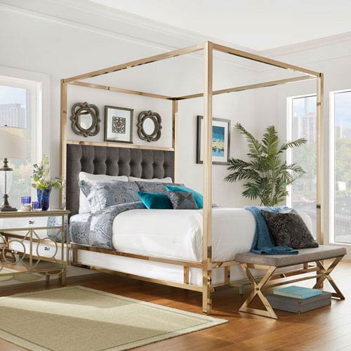 Adora Graphite Glam Champagne Brass Queen Canopy Bed