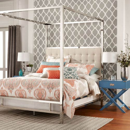 Adora White Glam Chrome Canopy Bed