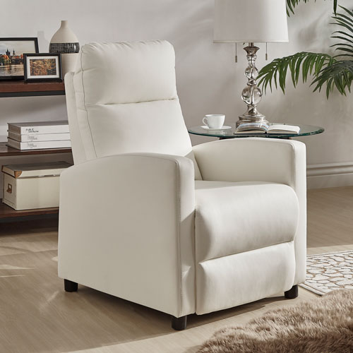 West White Bonded Leather Recliner