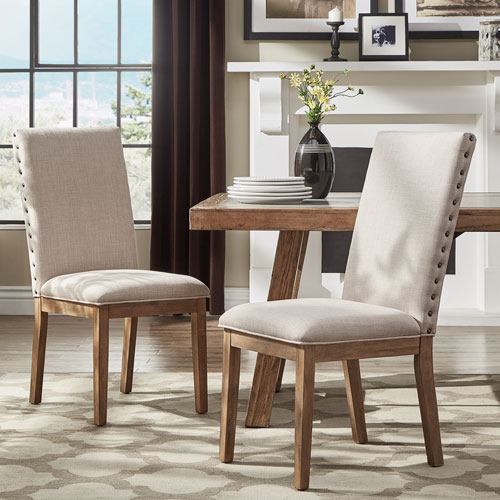 Century Beige Linen Nailhead Side Chair, Set of 2