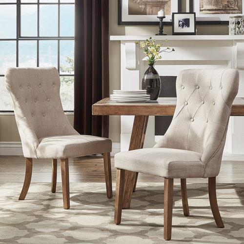 Century Beige Linen Side Chair, Set of 2