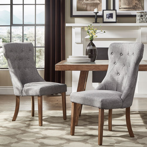 HomeHills Century Grey Linen Side Chair, Set of 2