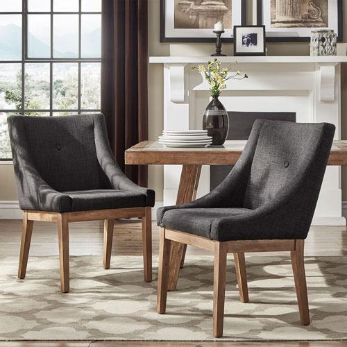 Century Dark Grey Linen Slope Arm Side Chair, Set of 2
