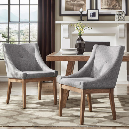 Century Grey Linen Slope Arm Side Chair, Set of 2