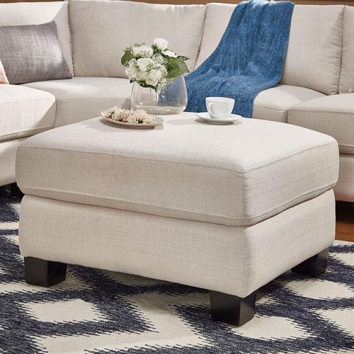 HomeHills Harley White Linen Ottoman