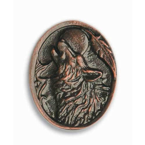 Antique Copper Howling Wolf Knob
