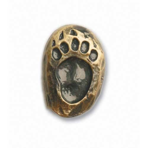 Antique Brass Left Single Bear Track Knob