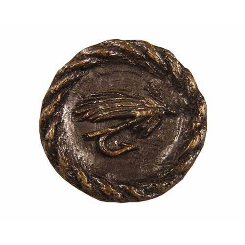 Antique Brass Trout Fly Round Knob
