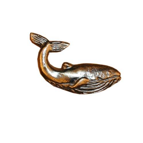 Antique Brass Whale Cabinet Knob
