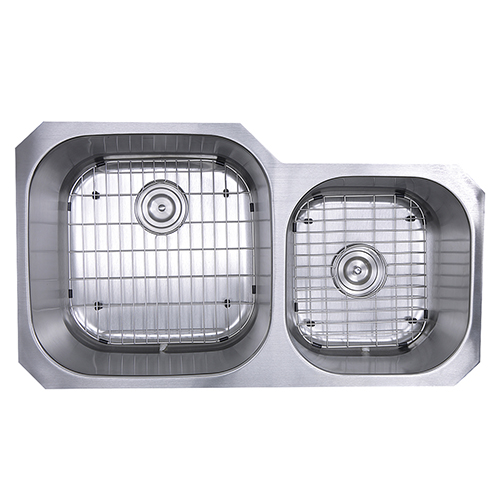 Sconset Brushed Satin 35-Inch Double Bowl Undermount Stainless Steel Kitchen Sink