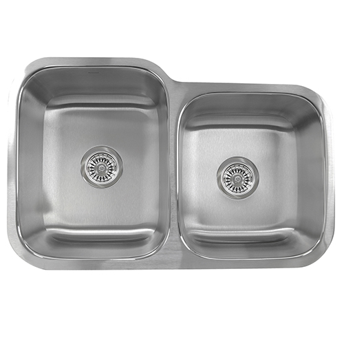 Quidnet Brushed Satin 32-Inch Double Bowl Undermount Kitchen Sink