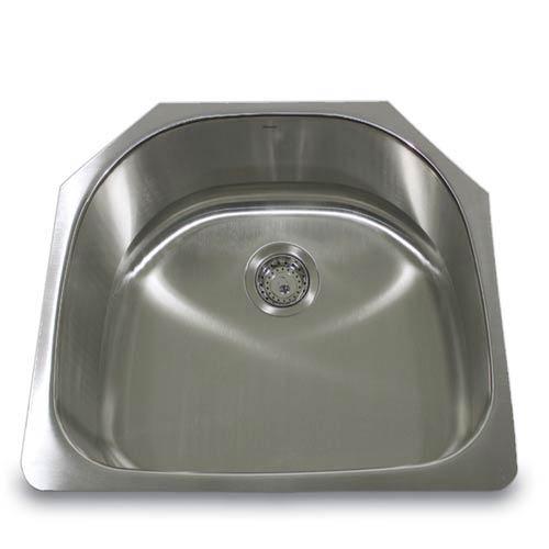 304 16 Gauge Stainless Steel D-Shape 24-Inch Undermount Kitchen Sink