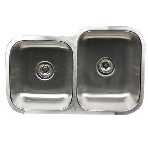 Sconset Brushed Satin 32-Inch Double Bowl Undermount Kitchen Sink