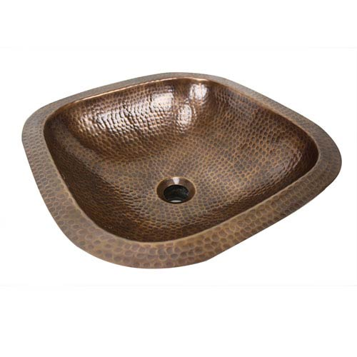 Brightwork Home Antique Copper 16.25-Inch Square Undermount Bathroom Sink
