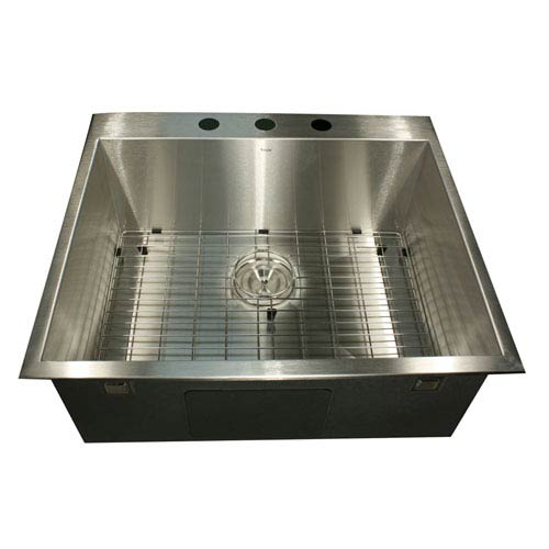 Pro Series Brushed Satin 25-Inch Single Bowl Drop-In Kitchen Sink
