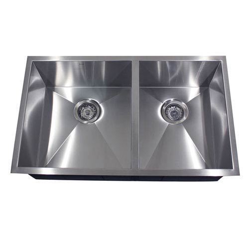 Nantucket Sinks Pro Series Brushed Satin 32 Inch Offset Double Bowl