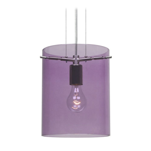 Pahu 8 Satin Nickel One-Light Edison 120v Mini Pendant with Flat Canopy, Cable, and Transparent Amethyst Glass