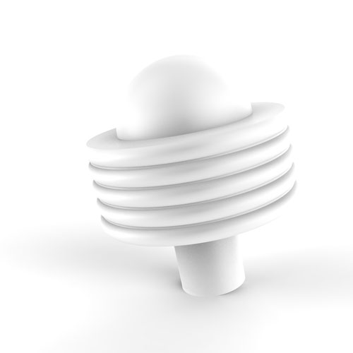 Matte White Two-Inch Cabinet Knob with Groovy Ring Detail
