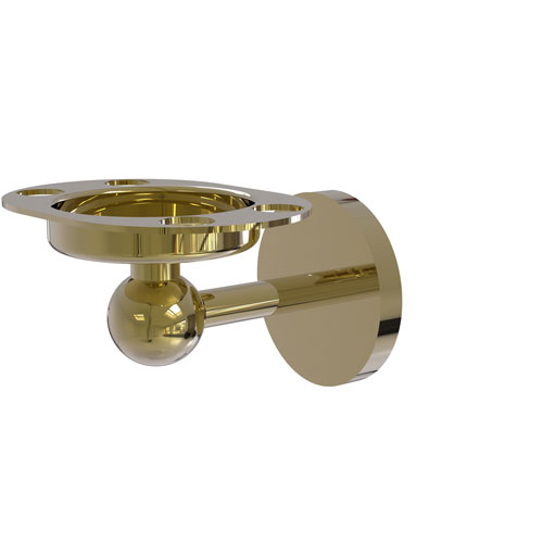 Skyline Unlacquered Brass Four-Inch Tumbler and Toothbrush Holder with Twist Accent