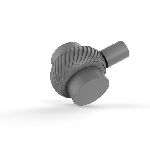 Matte Gray Two-Inch Cabinet Knob with Twisted Ring Detail