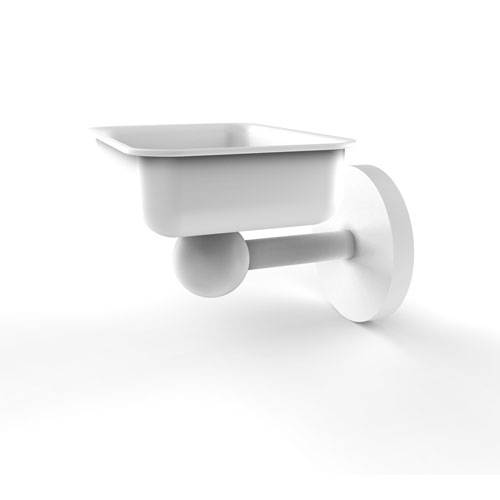 Skyline Matte White Four-Inch Wall Mounted Soap Dish
