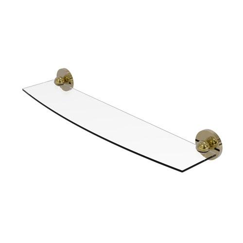 Skyline Unlacquered Brass 24-Inch Glass Shelf
