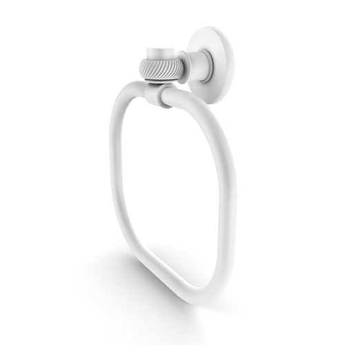 Continental Matte White Nine-Inch Towel Ring with Twist Accents