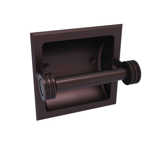 Continental Antique Bronze Six-Inch Recessed Toilet Tissue Holder with Dotted Accents