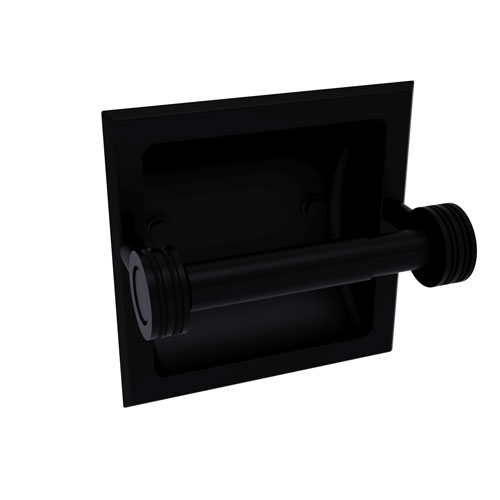 Continental Matte Black Six-Inch Recessed Toilet Tissue Holder with Dotted Accents