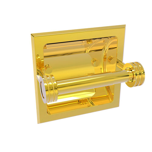 Continental Polished Brass Six-Inch Recessed Toilet Tissue Holder with Dotted Accents