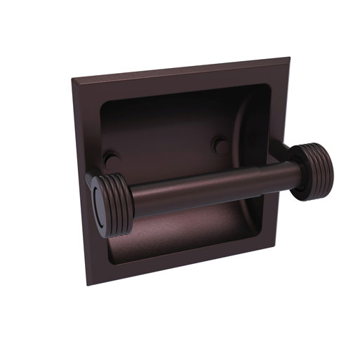 Continental Antique Bronze Six-Inch Recessed Toilet Tissue Holder with Groovy Accents