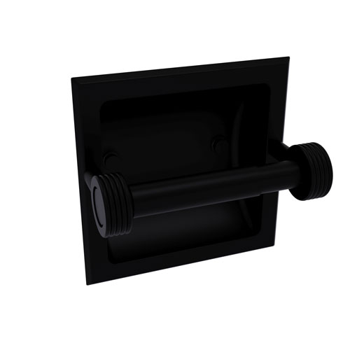 Continental Matte Black Six-Inch Recessed Toilet Tissue Holder with Groovy Accents