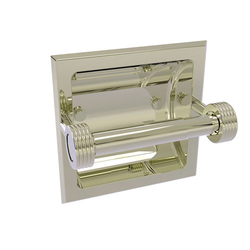 Continental Polished Nickel Six-Inch Recessed Toilet Tissue Holder with Groovy Accents