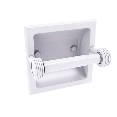 Continental Matte White Six-Inch Recessed Toilet Tissue Holder with Groovy Accents