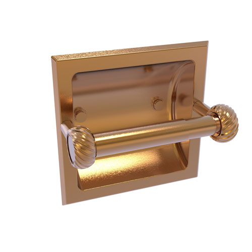 Continental Brushed Bronze Six-Inch Recessed Toilet Tissue Holder with Twisted Accents