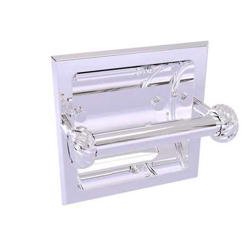 Continental Polished Chrome Six-Inch Recessed Toilet Tissue Holder with Twisted Accents