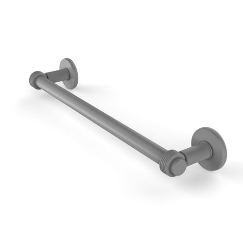 Continental Matte Gray 24-Inch Towel Bar with Groovy Detail