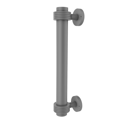 Matte Gray Eight-Inch Door Pull with Groovy Accents