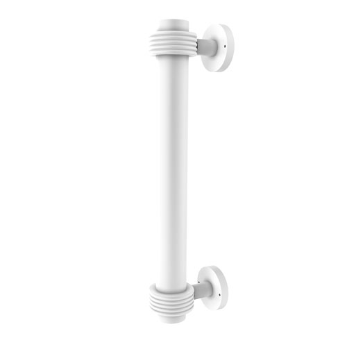 Matte White Eight-Inch Door Pull with Groovy Accents