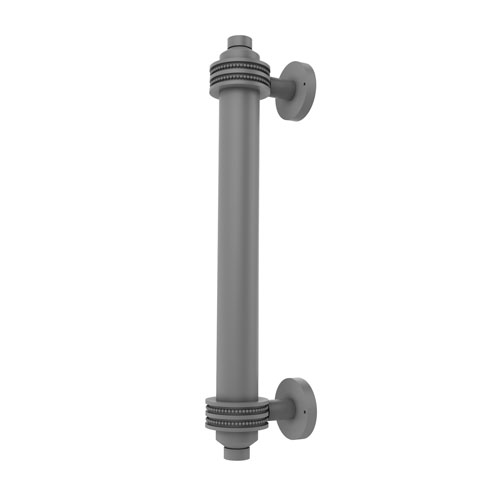 Matte Gray Eight-Inch Door Pull with Twisted Accents