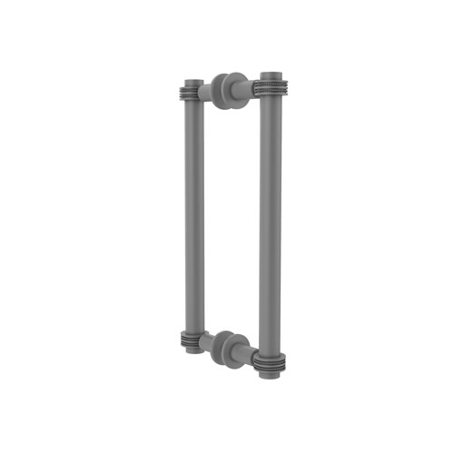 Matte Gray 12-Inch Back to Back Shower Door Pull with Dotted Accent