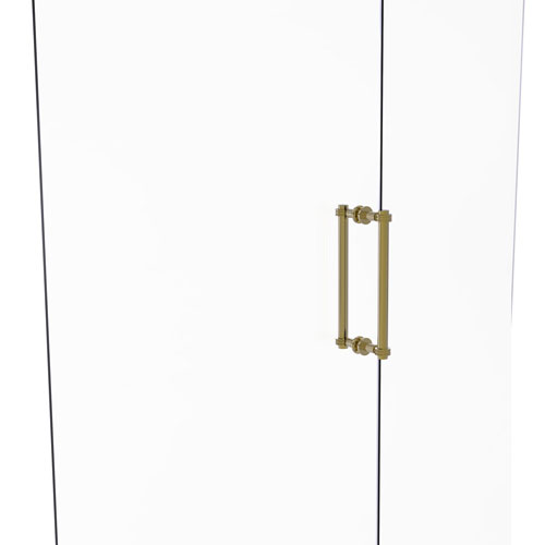 Unlacquered Brass 12-Inch Back to Back Shower Door Pull with Dotted Accent